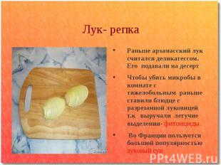 Лук- репка Раньше арзамасский лук считался деликатессом. Его подавали на десерт