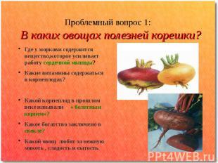 Проблемный вопрос 1: В каких овощах полезней корешки? Где у моркови содержится в