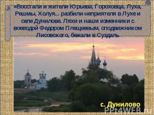 «Восстали и жители Юрьева, Гороховца, Луха, Решмы, Холуя... разбили неприятеля в