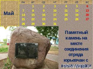 Май Памятный камень на месте соединения отряда юрьевчан с нижегородским ополчени