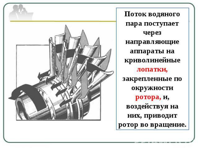 Поток водяного пара поступает через направляющие аппараты на криволинейные лопатки, закрепленные по окружности ротора, и, воздействуя на них, приводит ротор во вращение.
