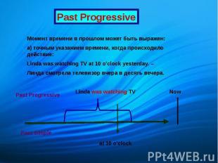 Past Progressive Момент времени в прошлом может быть выражен: а) точным указание