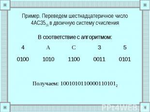 Пример. Переведем шестнадцатеричное число 4AC3516 в двоичную систему счисления В