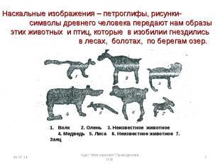 Наскальные изображения – петроглифы, рисунки- символы древнего человека передают