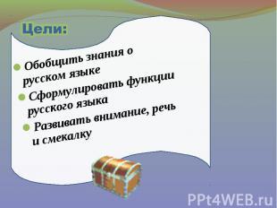 Цели: Обобщить знания о русском языке Сформулировать функции русского языка Разв