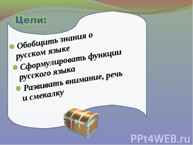 Цели: Обобщить знания о русском языке Сформулировать функции русского языка Развивать внимание, речь и смекалку