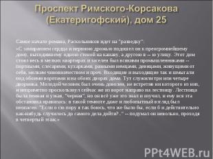 Проспект Римского-Корсакова (Екатеригофский), дом 25 Самое начало романа, Раскол