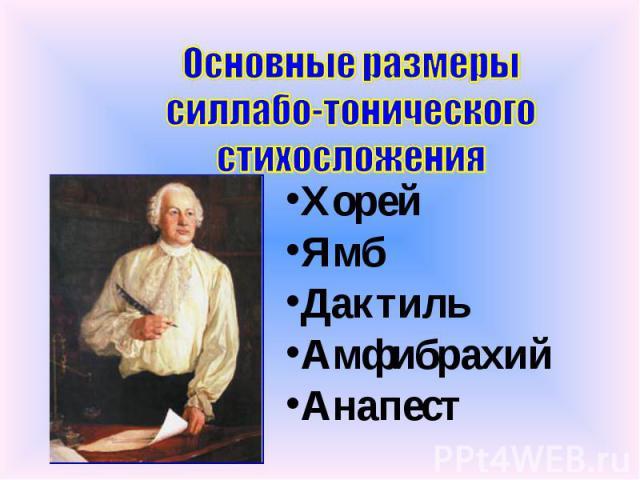 Основные размеры силлабо-тонического стихосложения Хорей Ямб Дактиль Амфибрахий Анапест