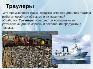 Траулеры Это промысловое судно,предназначенное для лова тралом рыбы и нерыбных