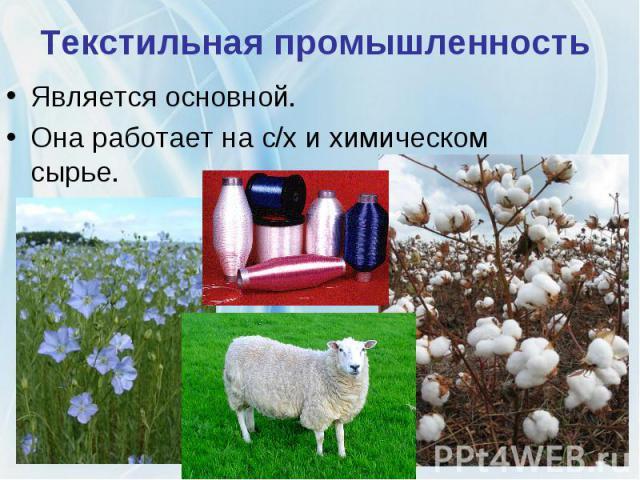 Текстильная промышленность Является основной. Она работает на с/х и химическом сырье.