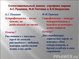 Сопоставительный анализ строфики лирики А.С.Пушкина, Ф.И.Тютчева и А.Н.Некрасова