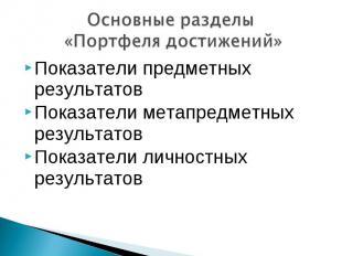 Основные разделы «Портфеля достижений»Показатели предметных результатов Показате