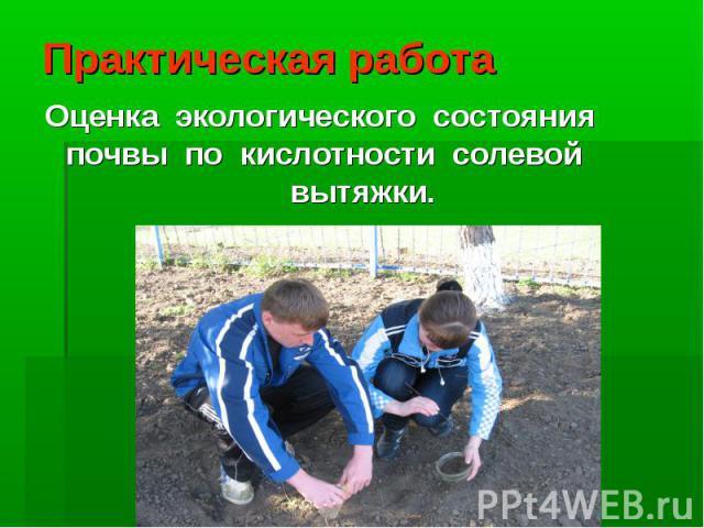 Практическая работа Оценка экологического состояния почвы по кислотности солевой вытяжки.
