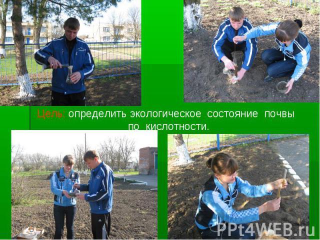 Цель: определить экологическое состояние почвы по кислотности.
