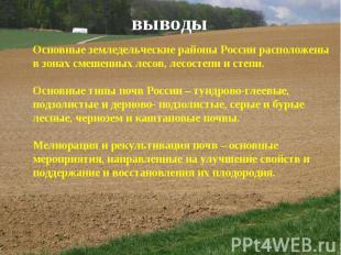 выводы Основные земледельческие районы России расположены в зонах смешенных лесо