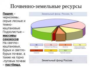Почвенно-земельные ресурсы Пашня – черноземы, серые лесные и темно- каштановые П