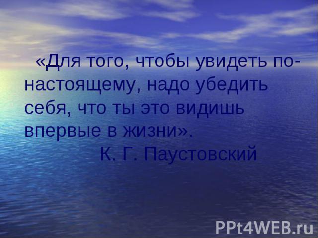 «Для того, чтобы увидеть по-настоящему, надо убедить себя, что ты это видишь впервые в жизни». К. Г. Паустовский