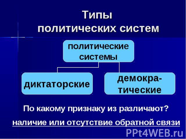 Типы политических систем По какому признаку из различают? наличие или отсутствие обратной связи