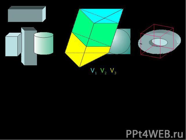 Любое геометрическое тело в пространстве характеризуется величиной, называемой ОБЪЕМОМ. Так что же такое – объем пространственной фигуры? Под объемом пространственной фигуры понимается положительная величина, обладающая следующими свойствами: равные…