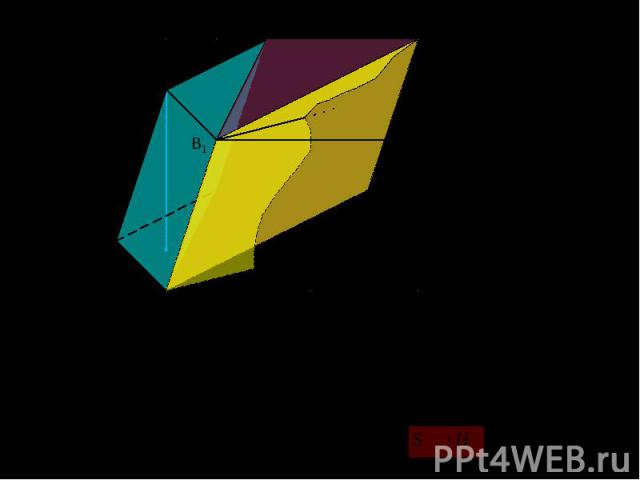 Рассмотрим произвольную n-угольную призму A1A2…An B1B2…Bn. Разобьем её на (n–2) треугольные призмы, полученные при проведении диагональных сечений из вершины A1. По свойству объема: