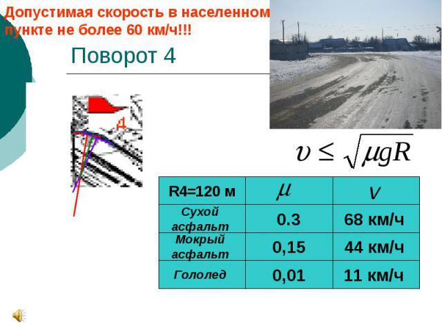 Поворот 4 Допустимая скорость в населенном пункте не более 60 км/ч!!!