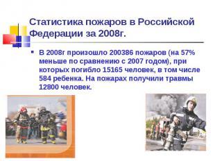Статистика пожаров в Российской Федерации за 2008г. В 2008г произошло 200386 пож