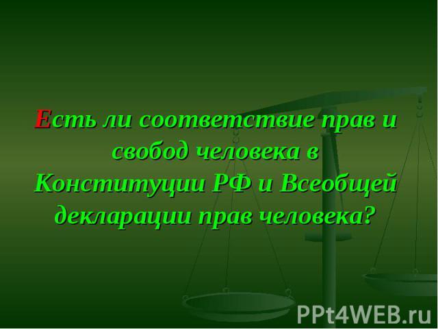 Есть ли соответствие прав и свобод человека в Конституции РФ и Всеобщей декларации прав человека?