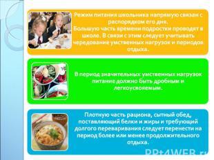 Режим питания школьника напрямую связан с распорядком его дня. Большую часть вре