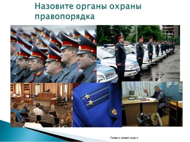 Назовите органы охраны правопорядка