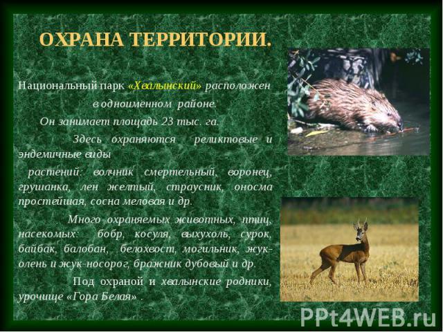 Охрана территории. Национальный парк «Хвалынский» расположен в одноименном районе. Он занимает площадь 23 тыс. га. Здесь охраняются реликтовые и эндемичные виды растений: волчник смертельный, воронец, грушанка, лен желтый, страусник, оносма простейш…