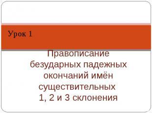Урок 1 Правописание безударных падежных окончаний имён существительных 1, 2 и 3