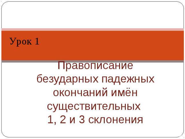 Урок 1 Правописание безударных падежных окончаний имён существительных 1, 2 и 3 склонения