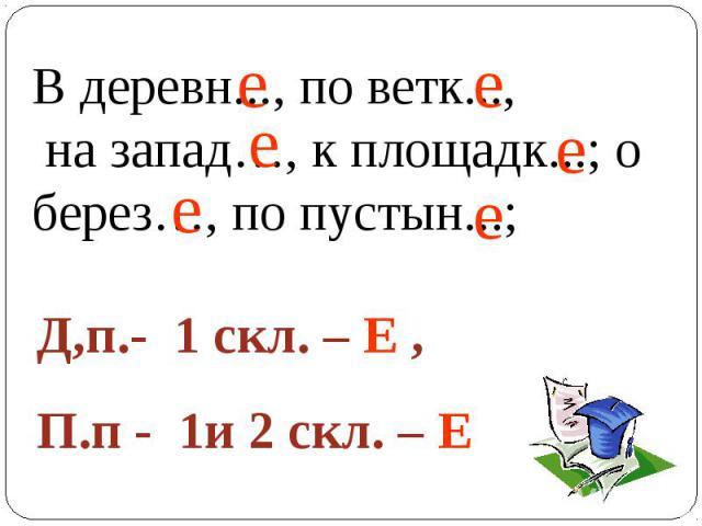 В деревн..., по ветк..., на запад…, к площадк...; о берез…, по пустын...; Д,п.- 1 скл. – Е , П.п - 1и 2 скл. – Е