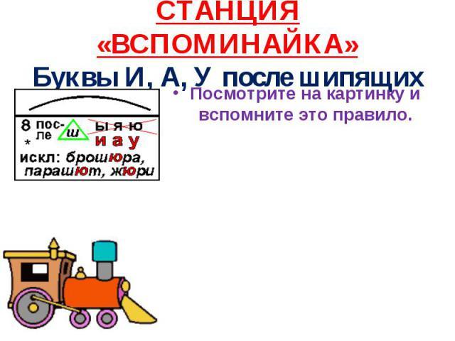 СТАНЦИЯ «ВСПОМИНАЙКА» Буквы И, А, У после шипящих Посмотрите на картинку и вспомните это правило.
