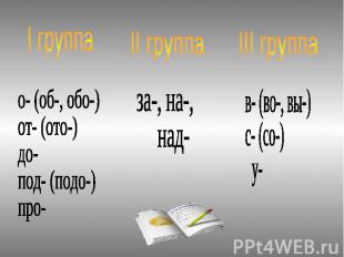 I группа о- (об-, обо-) от- (ото-) до- под- (подо-) про- II группа за-, на-, над
