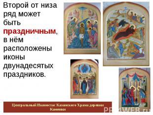 Второй от низа ряд может быть праздничным, в нём расположены иконы двунадесятых