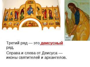 Третий ряд — это деисусный ряд. Справа и слева от Деисуса — иконы святителей и а