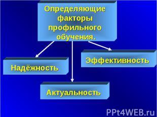 Определяющие факторы профильного обучения. Надёжность Эффективность Актуальность