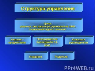 Структура управления Центр: директор, зам. директора, руководители ШМО, социальн