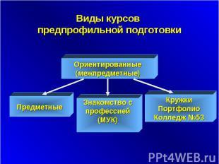 Виды курсов предпрофильной подготовки Ориентированные (межпредметные) Предметные