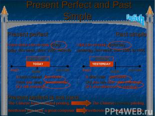 Present Perfect and Past Simple Present perfect is not used