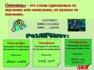 Омонимы – это слова одинаковые по звучанию или написанию, но разные по значению.