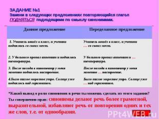 ЗАДАНИЕ №1 Замени в следующих предложениях повторяющийся глагол ПОДНЯТЬСЯ подход