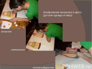 Изображение матрешек в цвете (детали одежды и лицо) загорская семеновская полхов