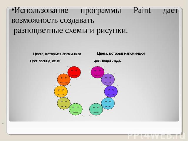 Использование программы Paint дает возможность создавать разноцветные схемы и рисунки. Цвета, которые напоминают цвет солнца, огня. Цвета, которые напоминают цвет воды, льда.