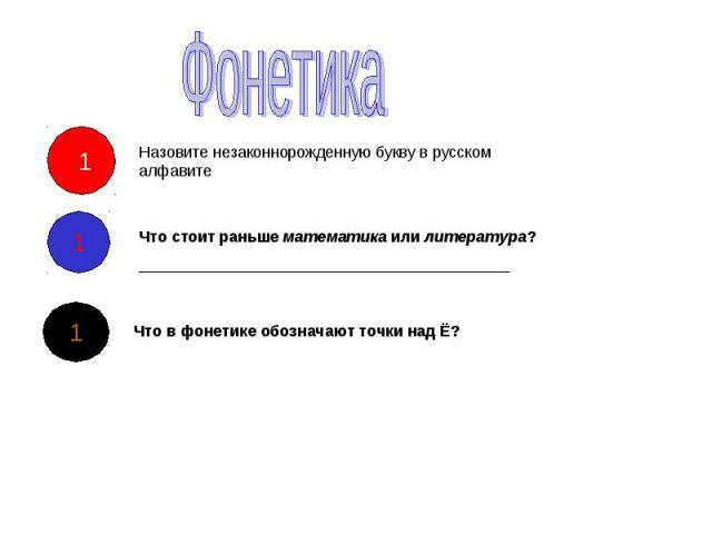 Фонетика Назовите незаконнорожденную букву в русском алфавите Что стоит раньше математика или литература? Что в фонетике обозначают точки над Ё?