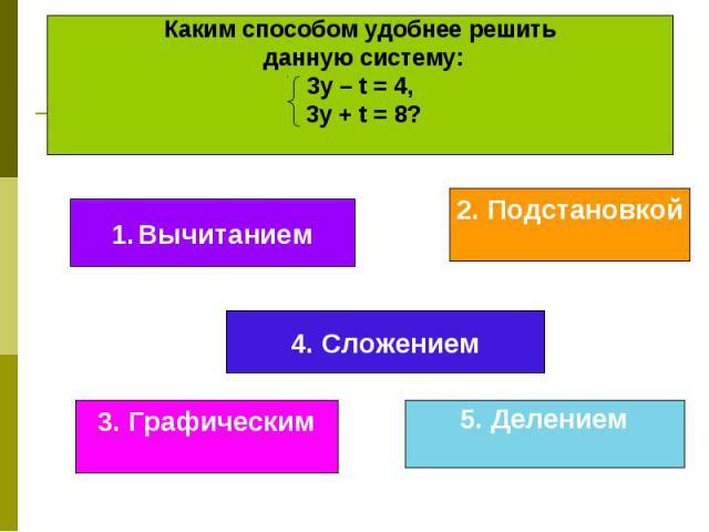Каким способом удобнее решить данную систему: 3у – t = 4, 3у + t = 8?
