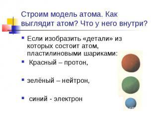 Строим модель атома. Как выглядит атом? Что у него внутри? Если изобразить «дета