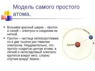 Модель самого простого атома. Возьмём красный шарик - протон и синий – электрон