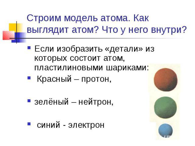 Строим модель атома. Как выглядит атом? Что у него внутри? Если изобразить «детали» из которых состоит атом, пластилиновыми шариками: Красный – протон, зелёный – нейтрон, синий - электрон